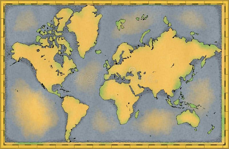 Carte du monde, traçages tirés par la main et illustrés, carte géographique illustration stock