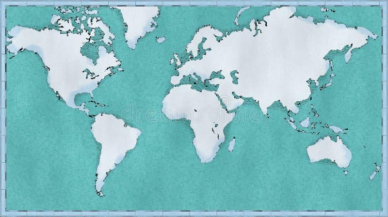 Carte du monde, traçages tirés par la main et illustrés, carte géographique, physique illustration stock