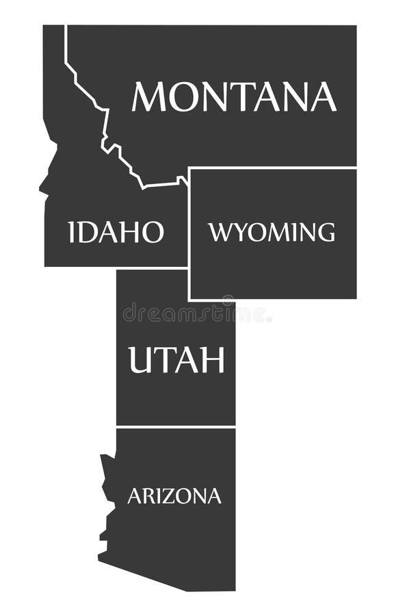 Carte du Montana - de l'Idaho - du Wyoming - de l'Utah - de l'Arizona marquée noire illustration stock