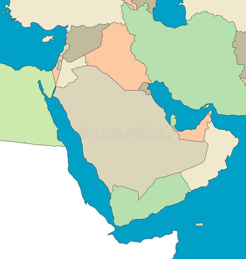 Carte du Moyen-Orient illustration stock