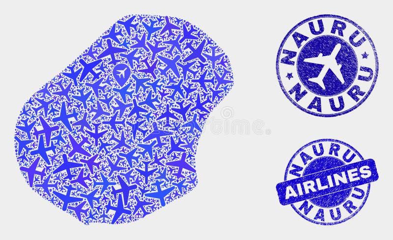 Carte du Nauru de vecteur de collage d'avion et joints grunges illustration de vecteur