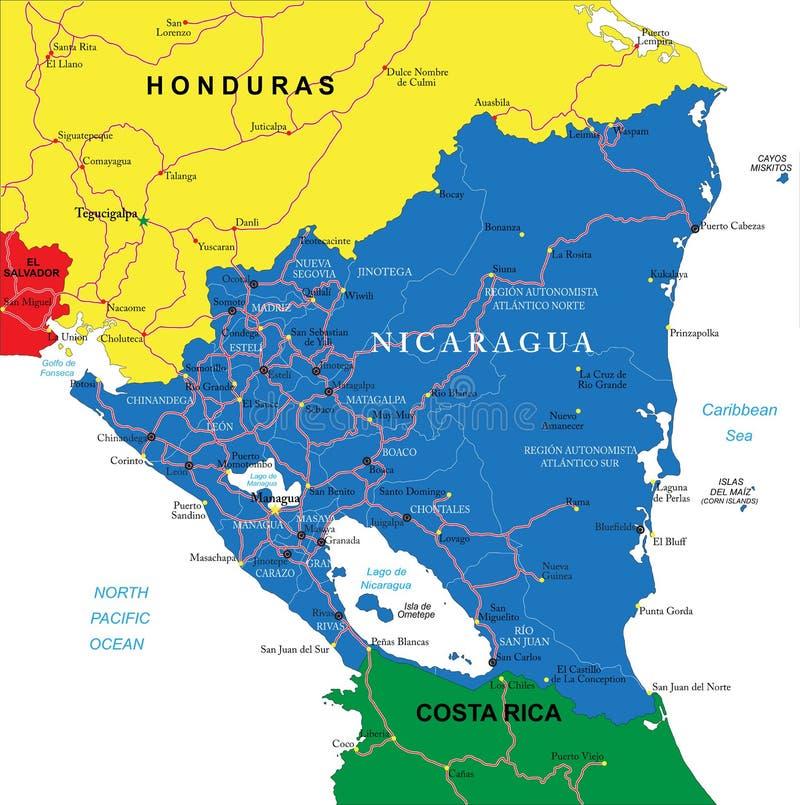 Carte du Nicaragua illustration stock