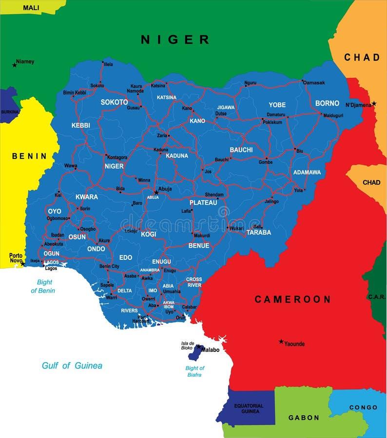 Carte du Nigéria illustration libre de droits