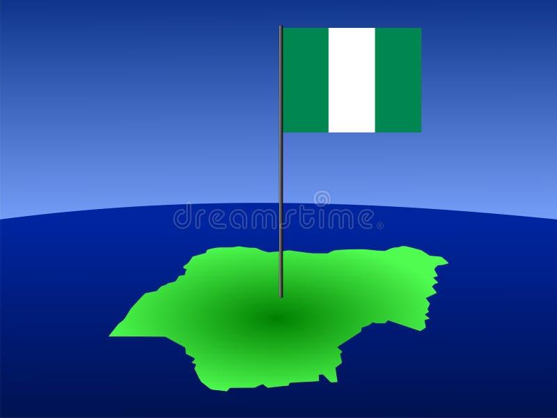 Carte du Nigéria avec l'indicateur illustration libre de droits