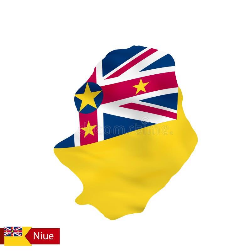 Carte du Niué avec le drapeau de ondulation du pays illustration de vecteur