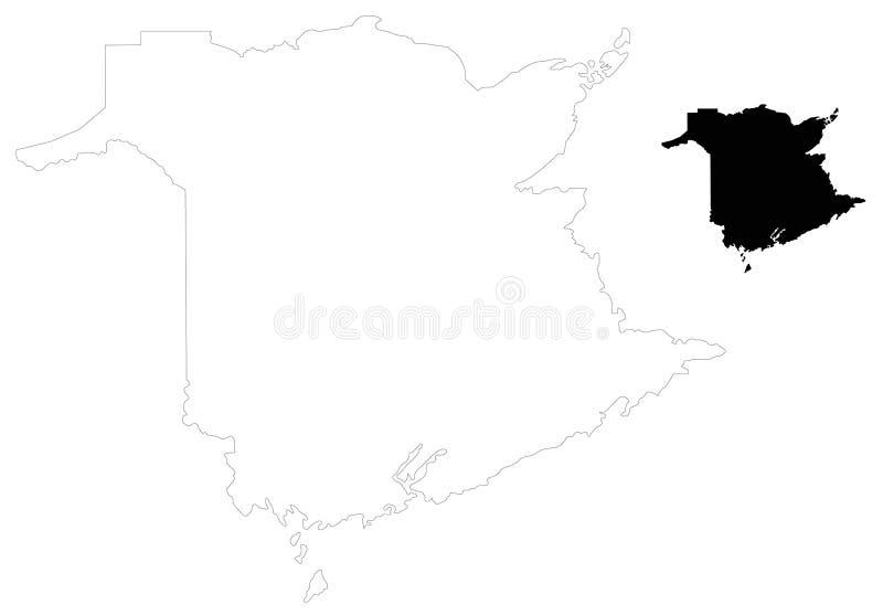 Carte du Nouveau Brunswick - une de quatre provinces atlantiques sur la Côte Est du Canada illustration de vecteur