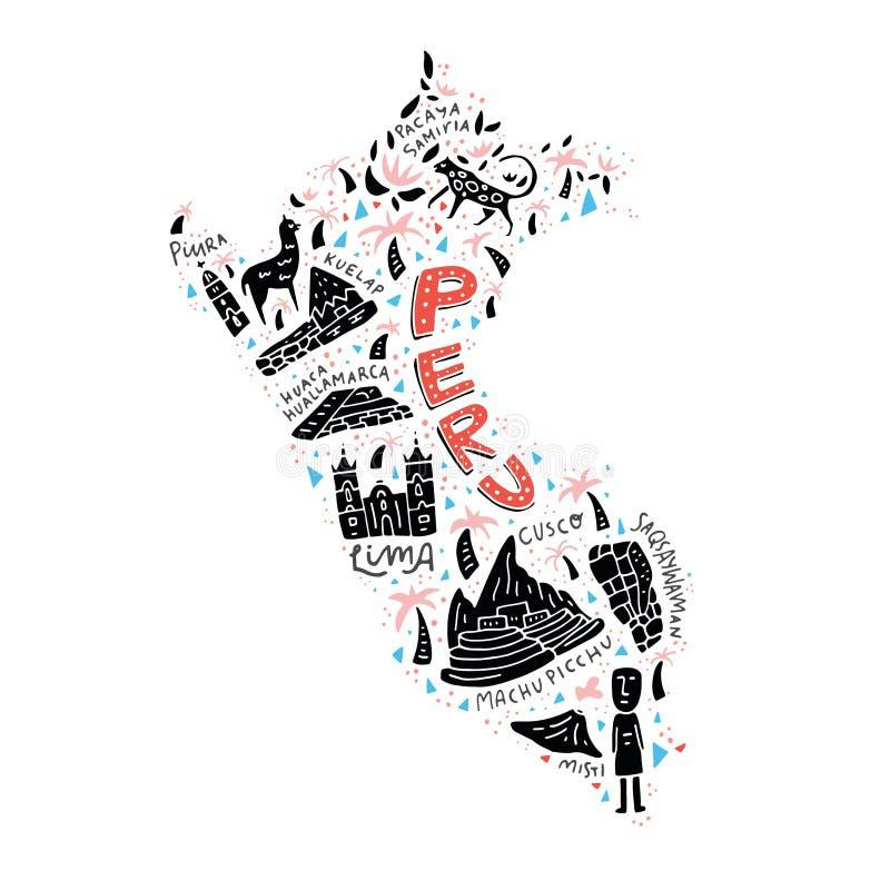 Carte du Pérou illustration stock