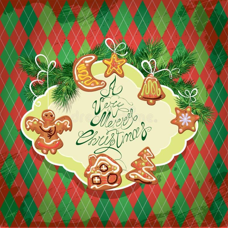 Carte du pain d'épice de Noël - biscuits dans l'ange, étoile illustration de vecteur