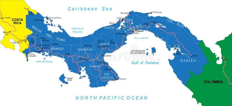 Carte du Panama illustration stock