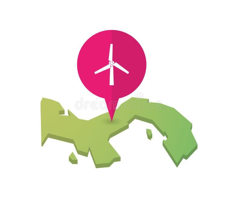 Carte du Panama avec un marqueur de carte et un générateur de vent illustration libre de droits