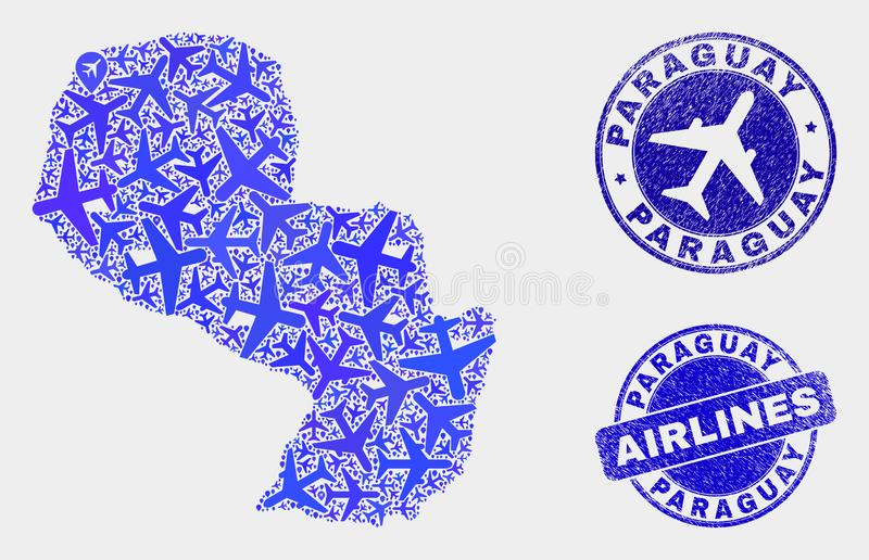 Carte du Paraguay de vecteur de collage d'aviation et timbres grunges illustration stock