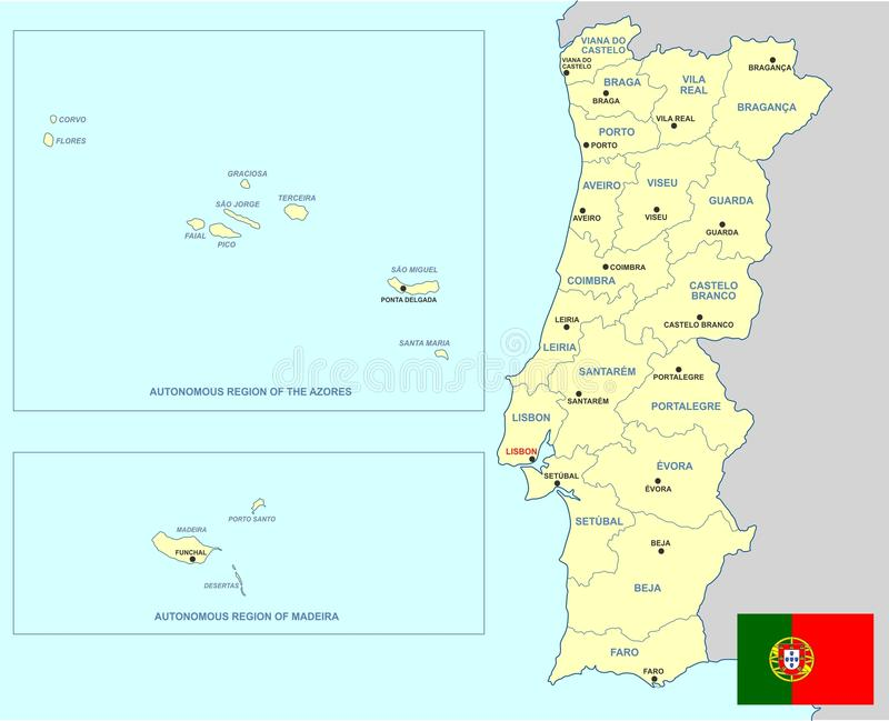 Carte du Portugal illustration libre de droits