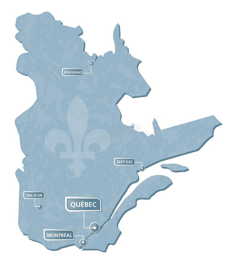 Carte du Québec avec la marque d'emplacement de villes illustration stock