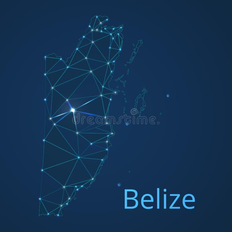 Carte du réseau de communication de Belize Basse poly image de vecteur d'une carte globale avec des lumières sous forme de villes illustration libre de droits