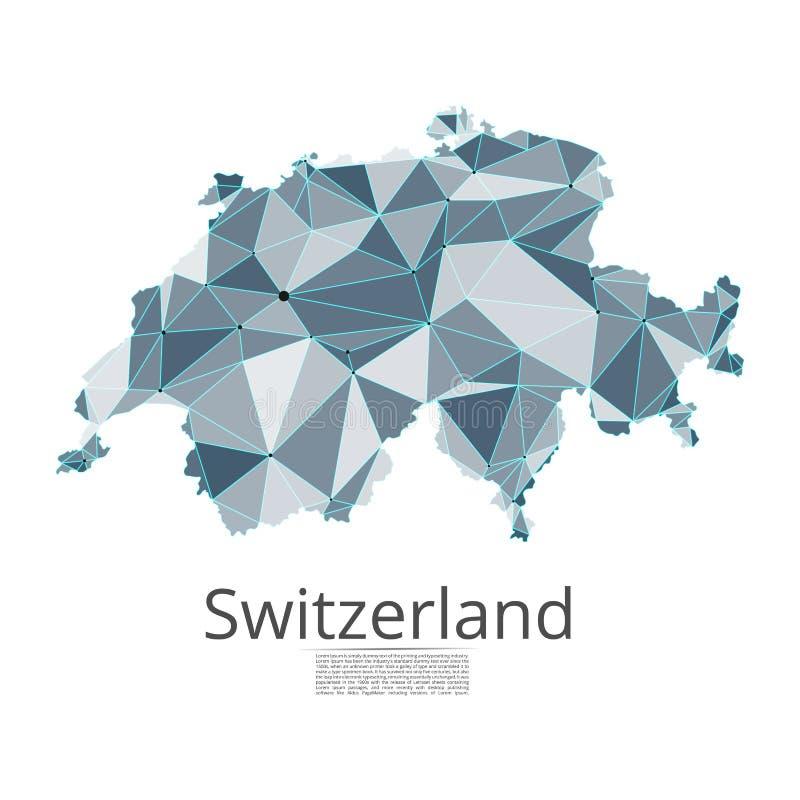 Carte du réseau de communication de la Suisse Basse poly image de vecteur d'une carte globale illustration stock