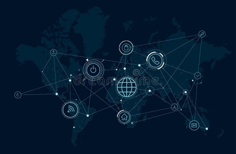 Carte du réseau de communications du monde, activité de processus de données, technologies du sans fil illustration de vecteur