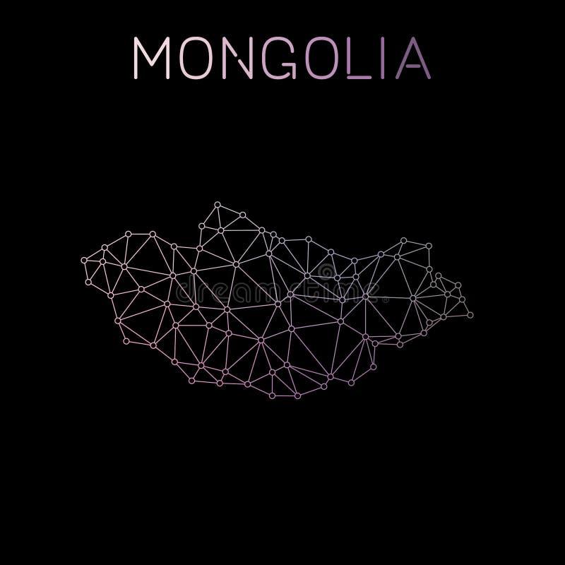 Carte du réseau de la Mongolie illustration libre de droits
