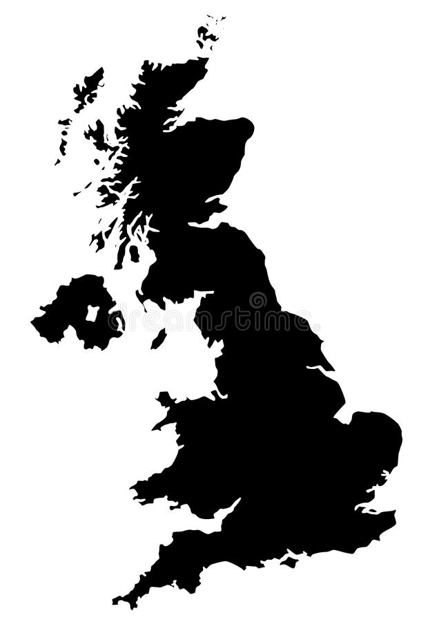 Carte du R-U dans le noir illustration stock