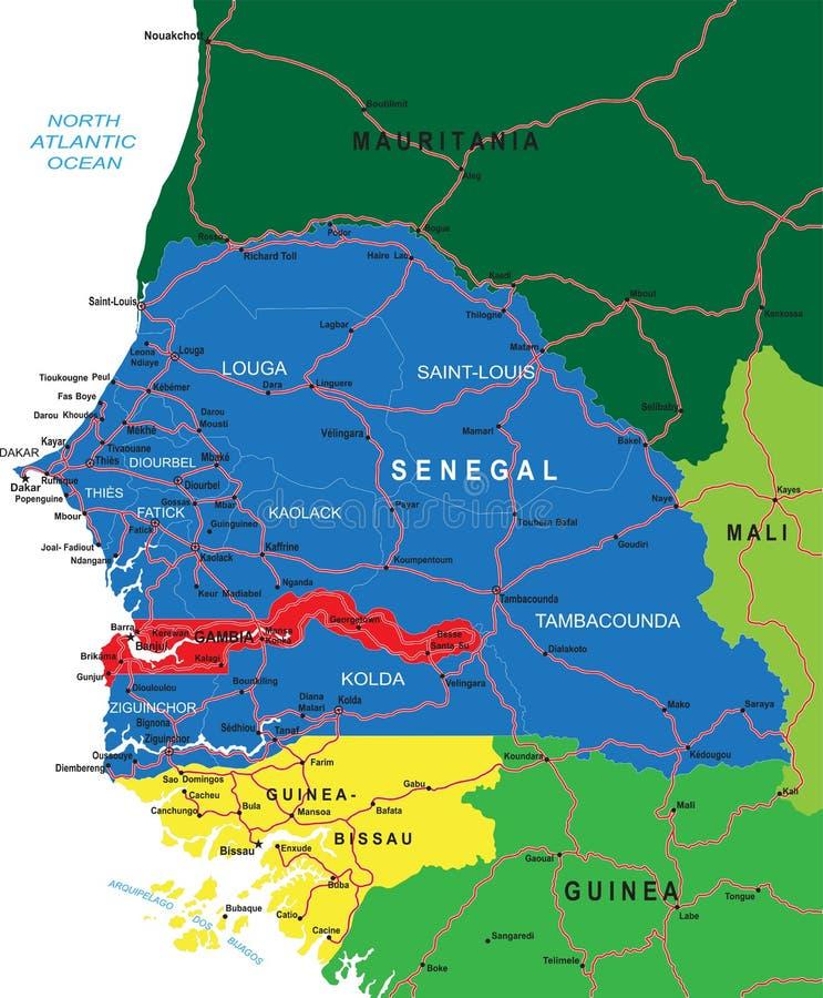 Carte du Sénégal illustration stock