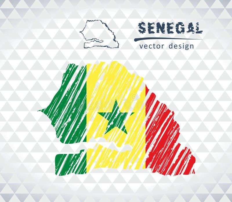 Carte du Sénégal avec la carte tirée par la main de stylo de croquis à l'intérieur Illustration de vecteur illustration libre de droits