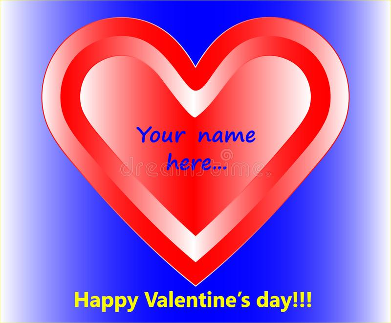 Carte du ` s de Valentine avec un coeur, des félicitations et un endroit où vous pouvez apporter vos félicitations ou nom illustration de vecteur