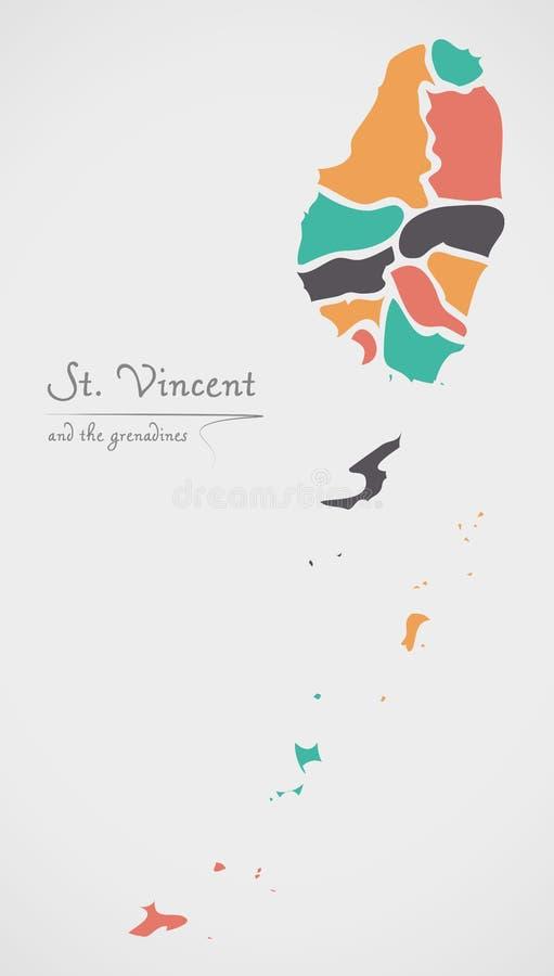 Carte du Saint-Vincent-et-les Grenadines avec les états et le roun moderne illustration stock