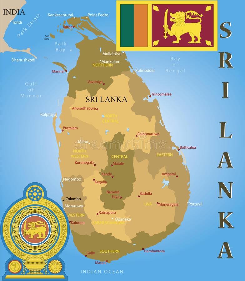 Carte du Sri Lanka. illustration de vecteur