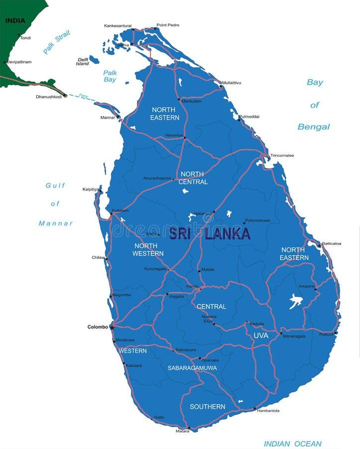 Carte du Sri Lanka illustration de vecteur