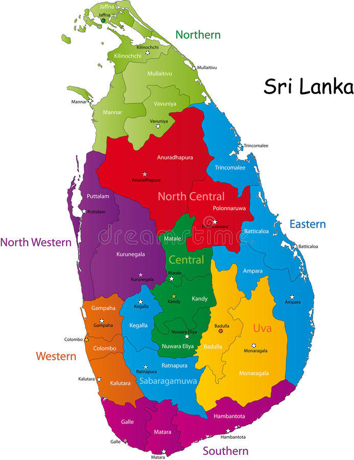 Carte du Sri Lanka illustration libre de droits