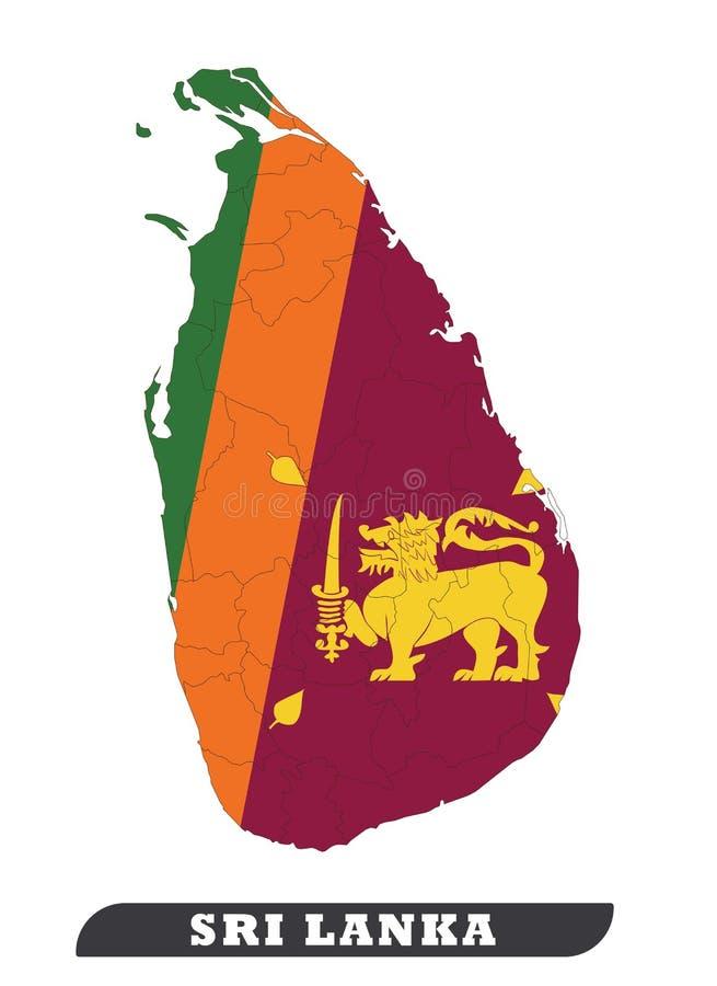Carte du Sri Lanka illustration stock