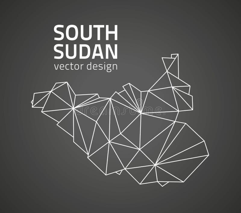 Carte du sud d'ensemble de mosaïque de vecteur de triangle de noir du Soudan illustration de vecteur