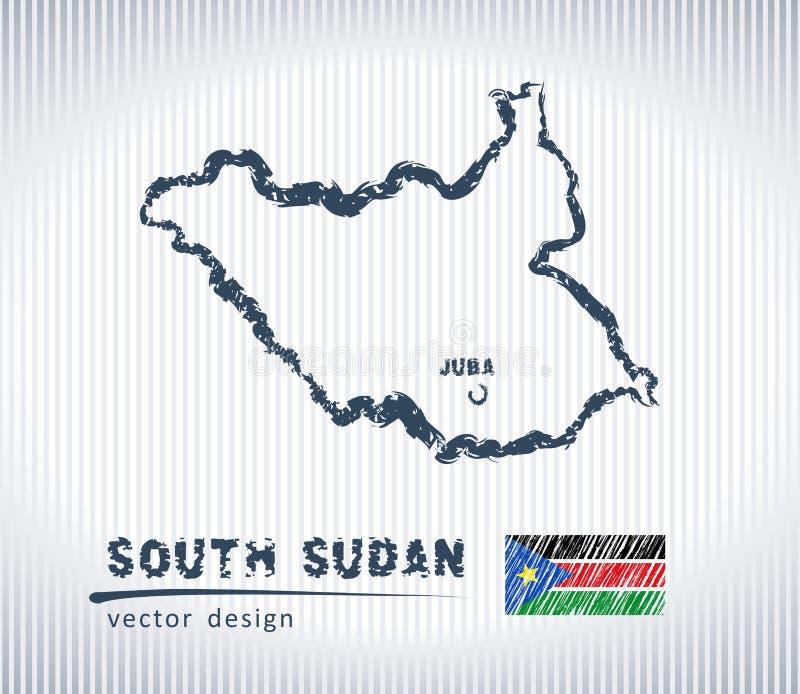 Carte du sud de dessin de craie de vecteur du Soudan d'isolement sur un fond blanc illustration stock