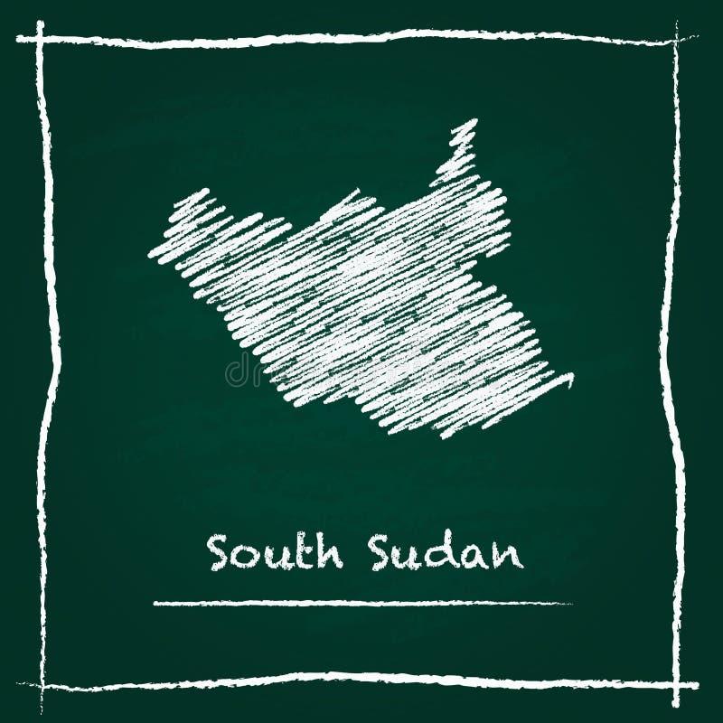 Carte du sud de vecteur d'ensemble du Soudan tirée par la main avec illustration stock