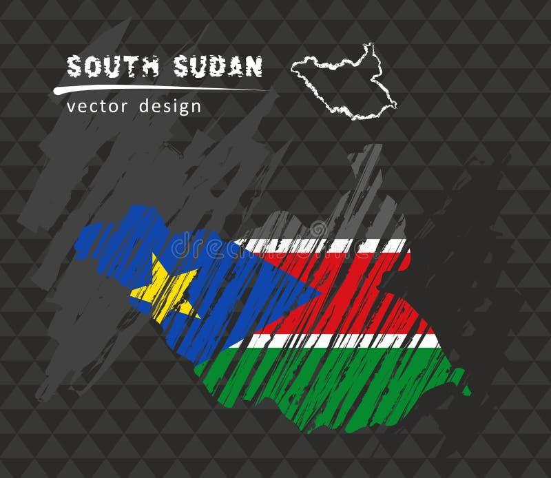Carte du sud du Soudan avec le drapeau à l'intérieur sur le fond noir Illustration de vecteur de croquis de craie illustration stock
