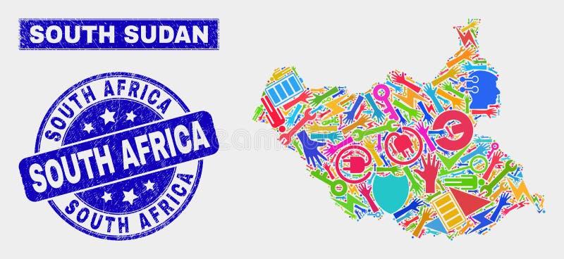 Carte du sud du Soudan de technologie de collage et affliger le timbre de l'Afrique du Sud illustration stock