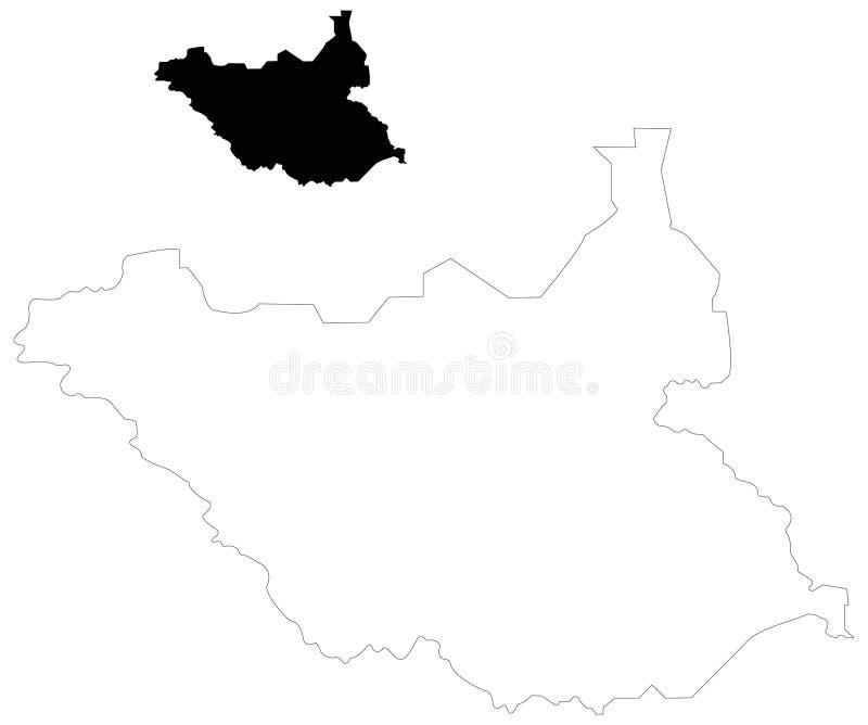 Carte du sud du Soudan - pays en Afrique Est-centrale illustration de vecteur