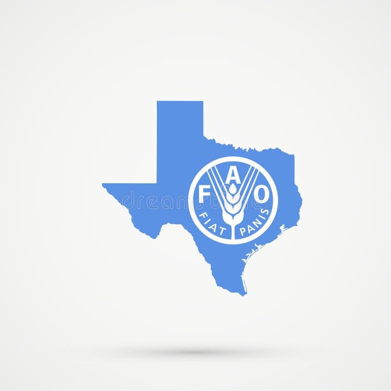 Carte du Texas dans l'Organisation pour l'alimentation et l'agriculture des couleurs de drapeau des Nations Unies la FAO, vecteur illustration de vecteur