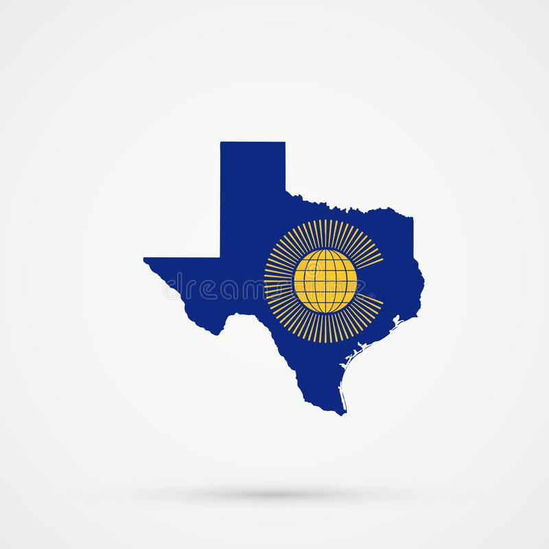 Carte du Texas dans le Commonwealth de couleurs de drapeau de nations, vecteur editable illustration stock