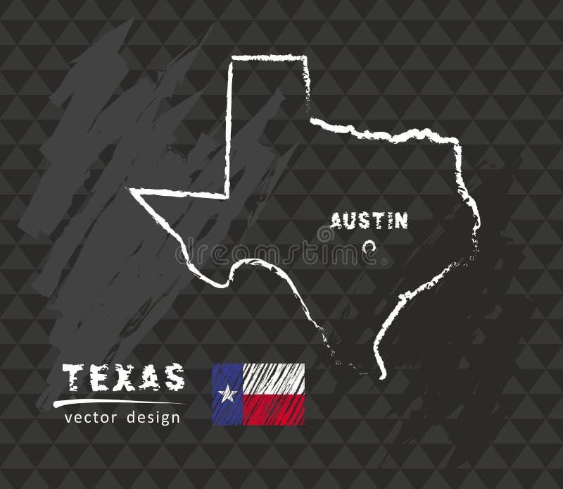 Carte du Texas, illustration de vecteur de croquis de craie illustration de vecteur