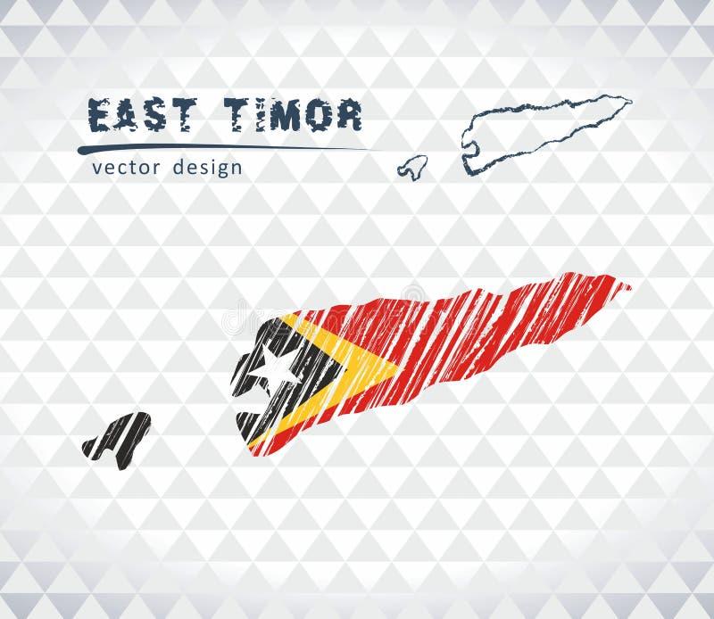 Carte du Timor oriental avec la carte tirée par la main de stylo de croquis à l'intérieur Illustration de vecteur illustration de vecteur