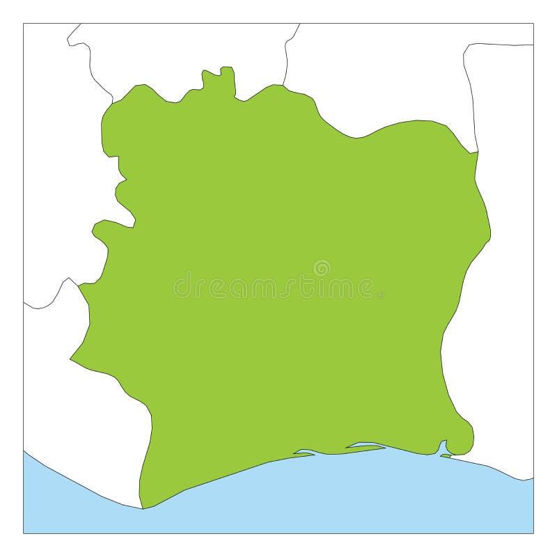 Carte du vert de la Côte d'Ivoire accentué avec les pays voisins illustration de vecteur