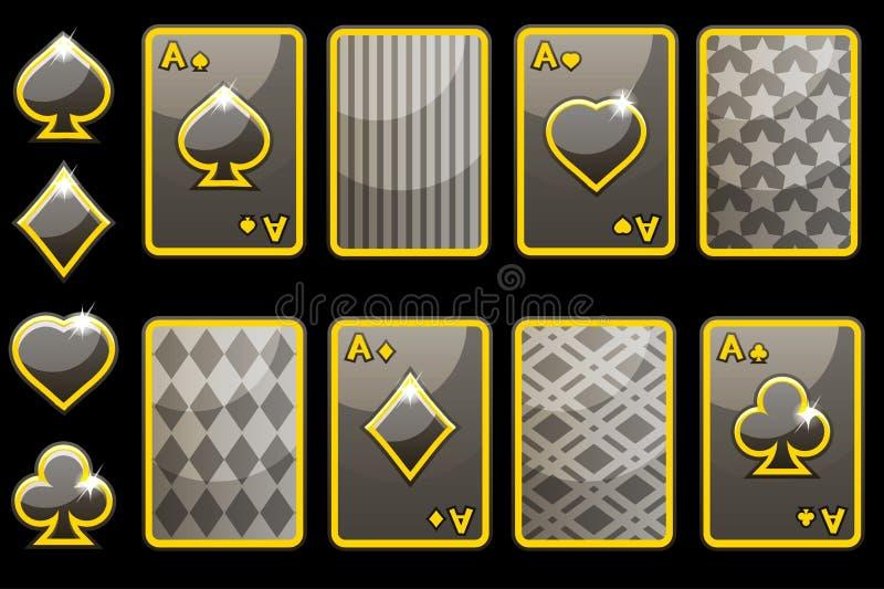 Carte e dorso della carta di gioco del poker del nero quattro del fumetto Elementi del GUI di vettore illustrazione di stock
