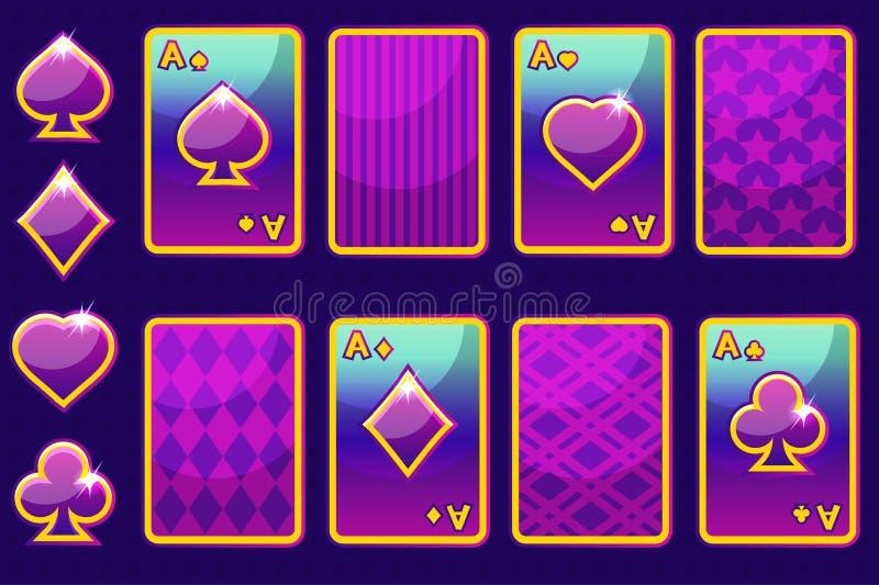 Carte e dorso della carta di gioco del poker di porpora quattro del fumetto Elementi ed icone del GUI illustrazione di stock