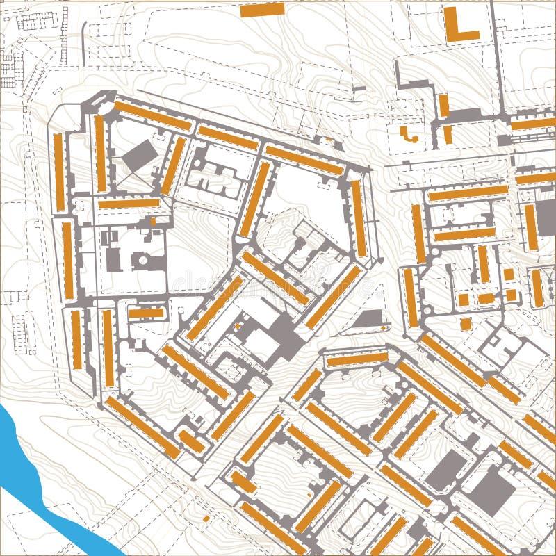 Carte editable générique de ville de vecteur sans des noms illustration libre de droits