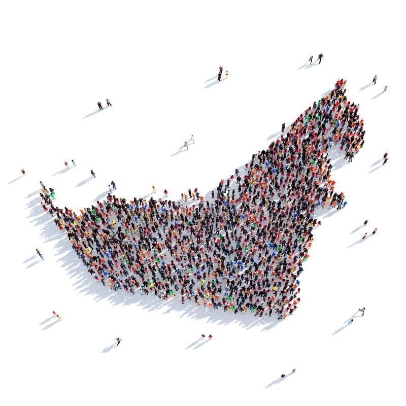 Carte Emirats Arabes Unis de forme de groupe de personnes photographie stock