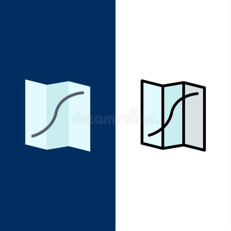Carte, emplacement, navigation, Pin Icons L'appartement et la ligne icône remplie ont placé le fond bleu de vecteur illustration libre de droits