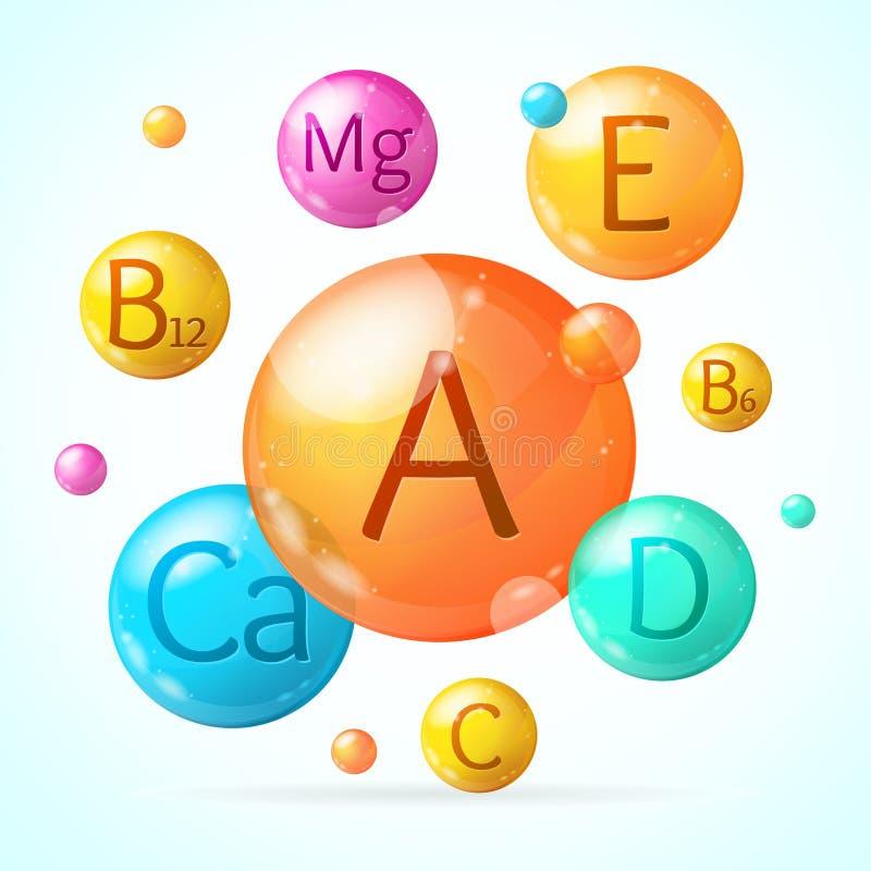 Carte en baisse détaillée réaliste de fond de la vitamine 3d et du minerai Vecteur illustration de vecteur