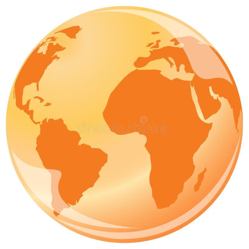 Carte en cristal orange du monde illustration stock