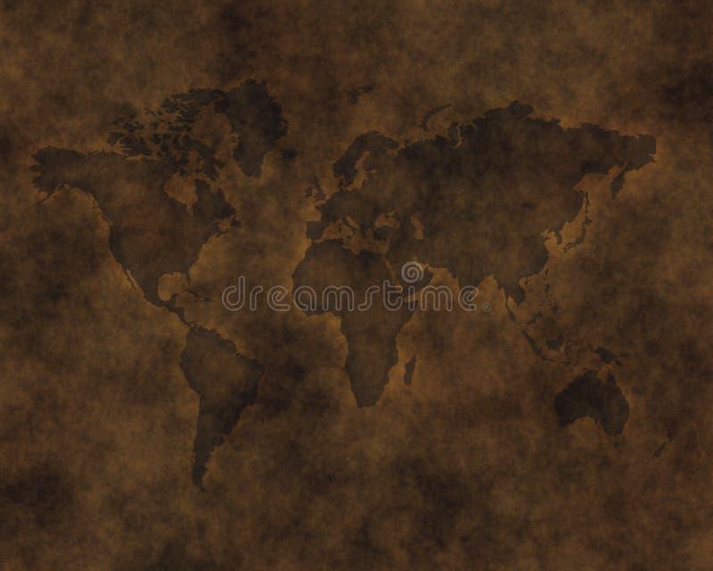 carte en cuir découpée de monde illustration libre de droits