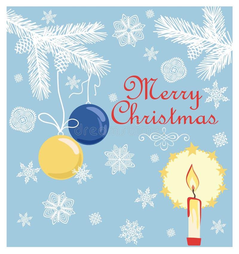 Carte en pastel de rétro Noël avec les branches de papier coupées de sapin, les flocons de neige, les boules accrochantes et la b illustration libre de droits